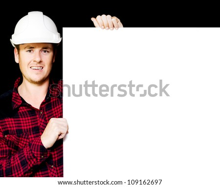 Construction supervisor displaying a blank white blueprint as he holds a meeting to discuss the building project and strategy - stock photo