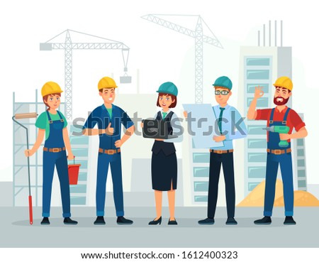 Construction team. Engineering and constructions workers, building engineers group and technicians people. Engineer expert teamwork, industry job character cartoon  illustration