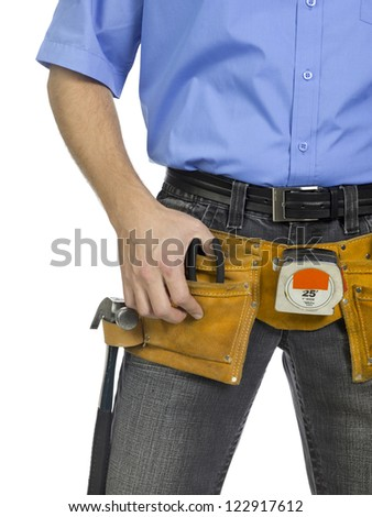 Construction tool belt with hammer, plies, and measuring tools