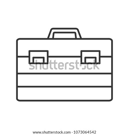 Construction toolbox linear icon. Thin line illustration. Toolbag. Contour symbol. Raster isolated outline drawing