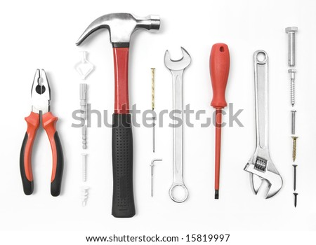Construction tools isolated on white - stock photo