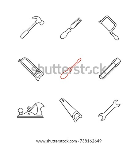 Construction tools linear icons set. Hammer, chisels, hacksaw, fretsaw, hand saw, jack plane, screwdriver, wrench. Thin line contour symbols. Isolated raster outline illustrations