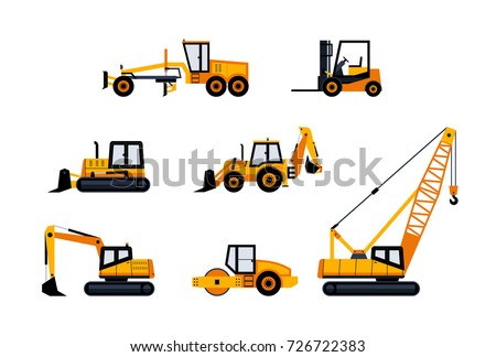 Construction Vehicles - modern flat design icon set. Loader, excavator, backhoe, bulldozer, crane, paving machine, road grader, forklift. Heavy machinery to build cities.