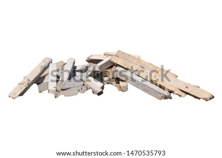 Construction waste, concrete debris from the demolition, road. Isolated on white background