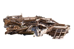 Construction waste, wooden debris from the demolition construction sites. Isolated on white background