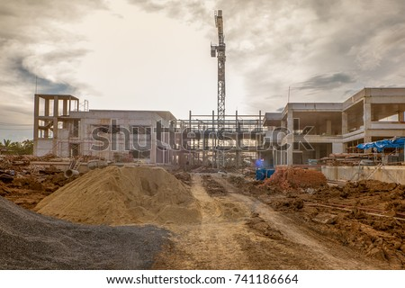 construction work building site and yellow Evening light
