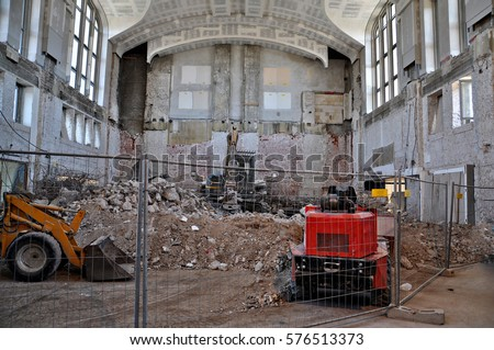Construction work inside the building. #576513373