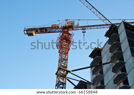 Construction work site. The city of Kaliningrad. Russian Federation.