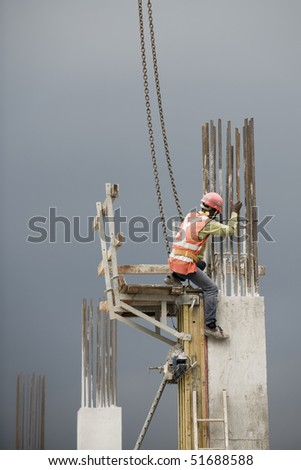 construction worker at work with the help of crane lift