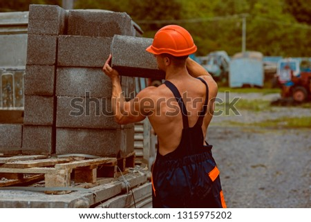 Construction worker. Construction worker carry bricks. Construction worker unload truck. Construction worker in working uniform. Building tomorrow world today. #1315975202