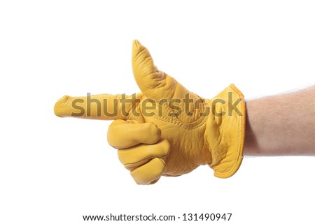 construction worker glove pointing to copy space isolated on white