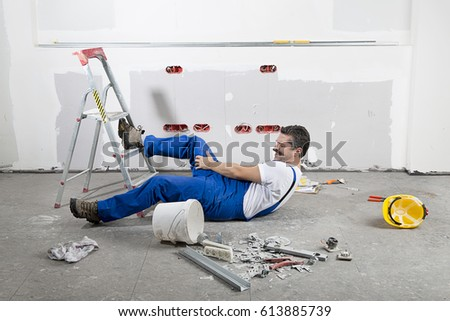 Construction Worker Having an Accident