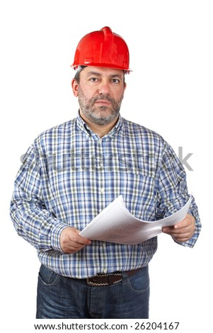 Construction worker holding blueprints, isolated on a white background