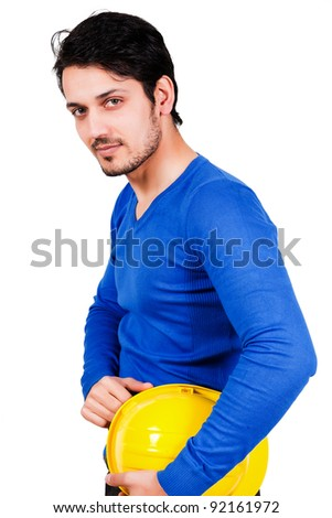 construction worker holding safety helmet