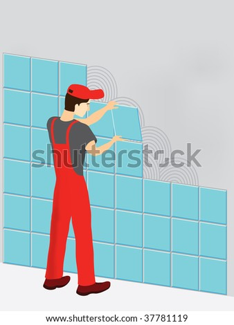 Construction worker in red suit laying tiles - stock photo