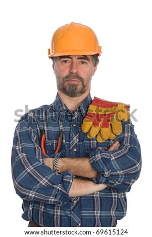 Construction worker. Isolated on white.