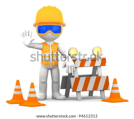 Construction worker. Isolated over white background.