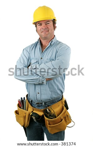 Construction worker looking friendly. Isolated.