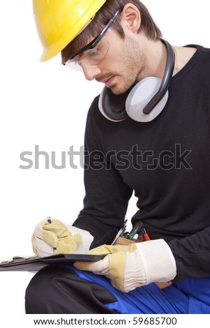 construction worker making notice on clipboard - isolated over white