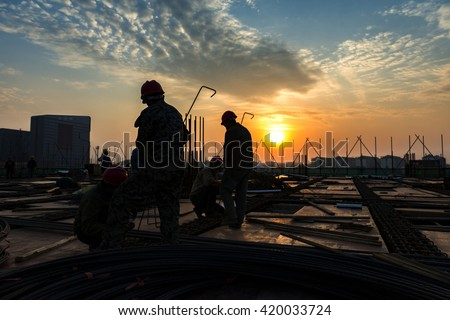 construction worker on construction site      #420033724