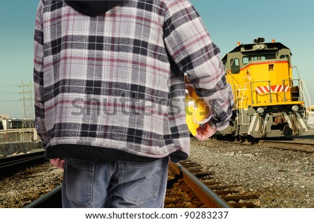 construction worker on railway - stock photo