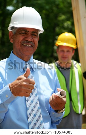 Construction worker on the job - stock photo