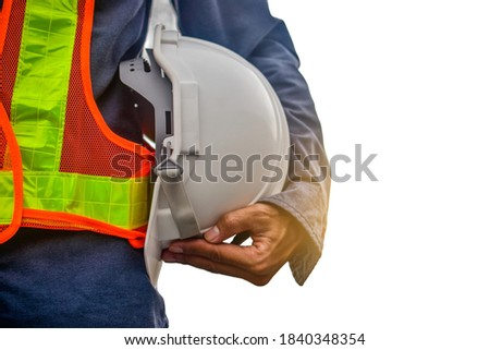 construction worker professional engineer holding hat