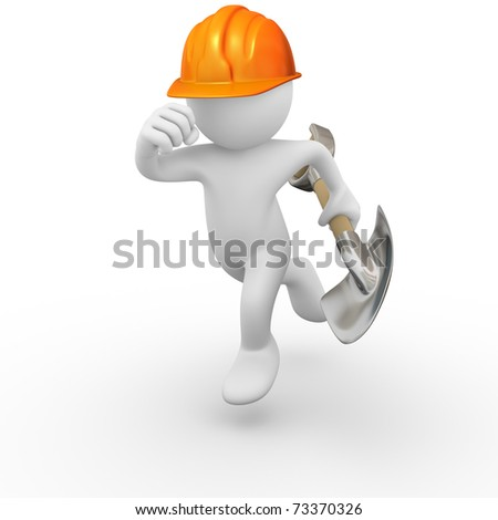 Construction worker running fast