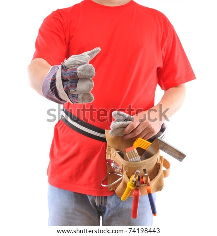 Construction worker s hand up for shake over white background - a series of MANUAL WORKER images.