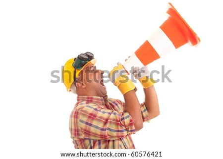 Construction worker screaming, isolated on white