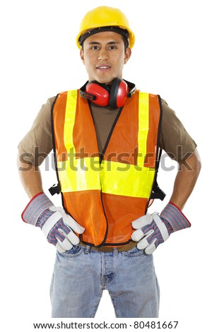construction worker standing confident isolated on white background
