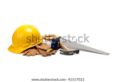 Construction worker supplies including a yellow hard hat, tape measure, box cutter, screw drivers, hammer and work gloves on a white background