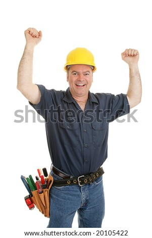 Construction worker throwing his arms up in joy.  Isolated on white.