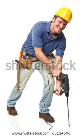construction worker using a big drill isolated on white background