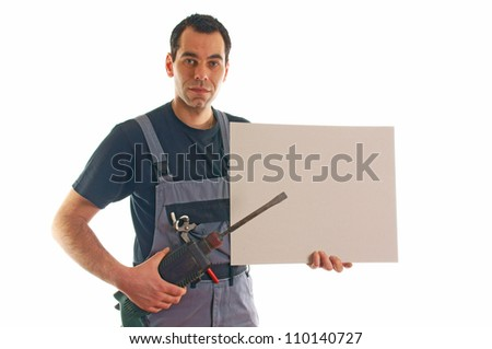 construction worker with a drill and empty sign