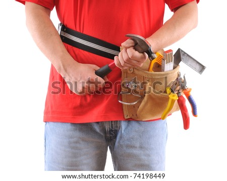 Construction worker with hammer over white background - a series of MANUAL WORKER images.