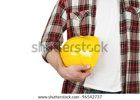 Construction worker with hard hat isolated on white background