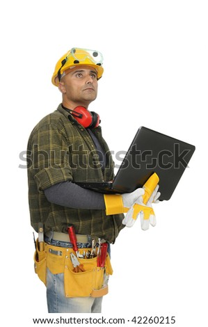 Construction worker with laptop isolated in white