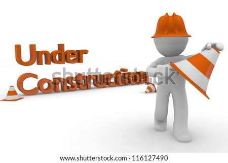 Construction worker with pylons on a white background