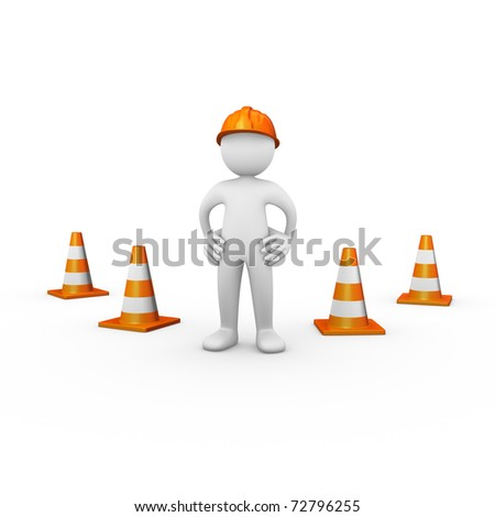 Construction worker with traffic cones
