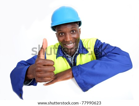 Construction worker with whiteboard isolated - stock photo
