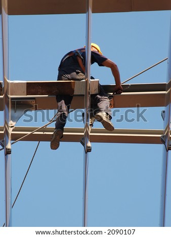 Construction worker working at elevation