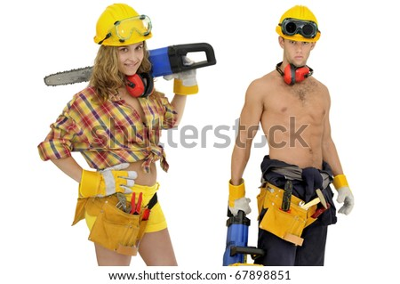 Construction workers team isolated in white