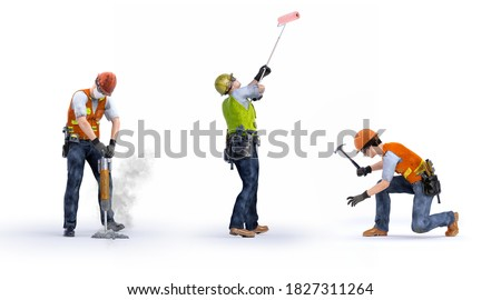Construction workers team set isolated on white background. Jackhammer builder worker with pneumatic hammer drill, painter with a roller, carpenter worker. 3D workers characters design illustration