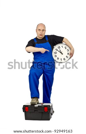 Construction workers with a clock in his hand