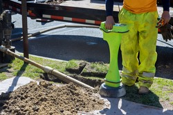 Construction works detect the fiber optic of pipeline in the for horizontal directional drilling