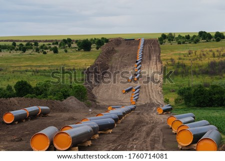 Construction works for pipeline. Turkish Stream export Russian gas from the second line to Bulgaria, Serbia, Hungary, Slovakia, and Austria. Photo stock ©