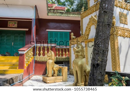 Shutterstock Constructions around the Buddhist temple Wat Leu with and its guardian lions in the middle of the jungle Sihanoukville Cambodia