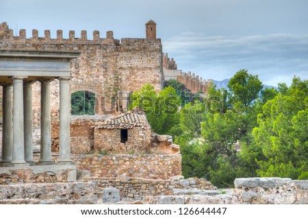 Constructions from different ages at the roman castle in Sagunto, near Valencia, Spain