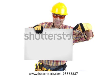 constructor man holding a card